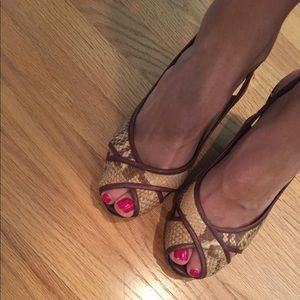 Cole Haan snakeskin wedge sandals, 8